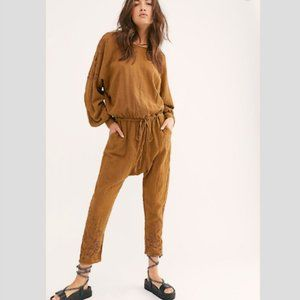 Free People ONETEASPOON  Embroidery Jumpsuit L